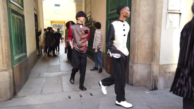 general view of models walking on the streets before the magliano show on january 13 2020 in milan italy - arts culture and entertainment stock videos & royalty-free footage
