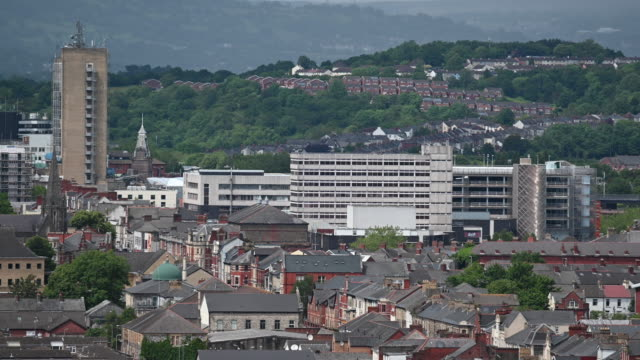 a general view of newport town centre on june 9 2019 in newport united kingdom - general view stock videos and b-roll footage