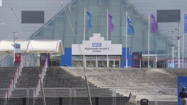 march 28: general view of nhs nightingale under construction at excel london as british prime minister, boris johnson, announced strict lockdown... - hospital stock videos & royalty-free footage