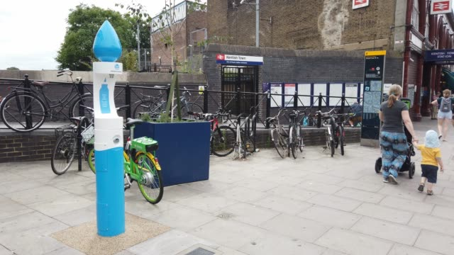 vídeos de stock e filmes b-roll de general view of one of the first fifty public drinking water fountains, outside kentish town station on july 22, 2019 in london, england. the... - kentish town