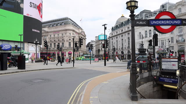 general view of piccadilly circus and and london underground station on march 23, 2021 in london, england. . on the 1 year anniversary of the... - underground station stock videos & royalty-free footage