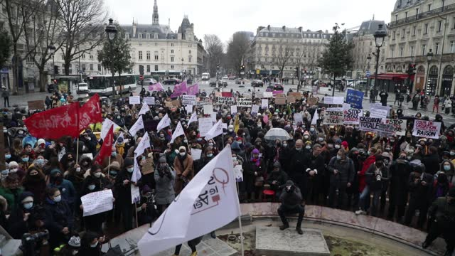 "general view of place st michel with many demonstrators during a demonstration of feminist collectives to demand ""justice for julie"" on february 7,... - partisan politics stock videos & royalty-free footage"