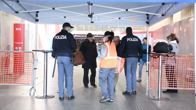 general view of police checks inside the porta nuova station in turin during of the italy extends emergency measures nationwide as coronavirus death... - italy stock videos & royalty-free footage