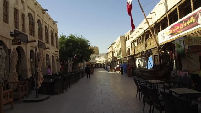 general view of restaurants and the market in the morning at the souq watif on march 19, 2019 in doha, qatar. - doha stock videos & royalty-free footage