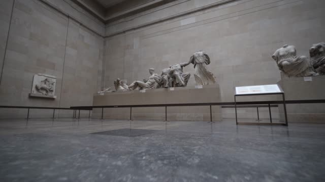 general view of room 18, greece: parthenon, housing artefacts from the parthenon at british museum on august 25, 2020 in london, england. grayson... - british museum stock videos & royalty-free footage
