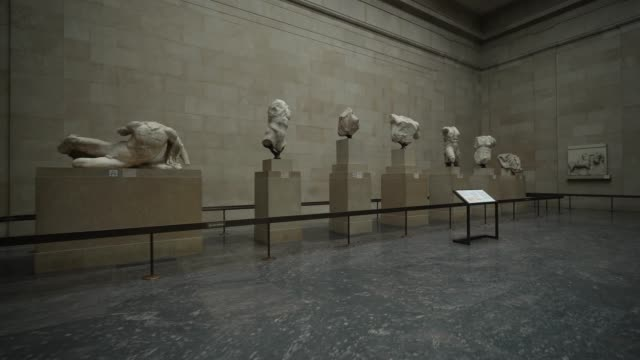 general view of room 18 greece parthenon housing artefacts from the parthenon at british museum on august 25 2020 in london england grayson perry... - athens greece stock videos & royalty-free footage