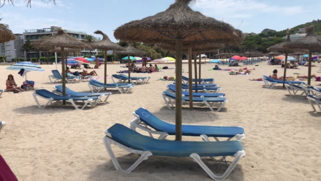 general view of santa ponsa beach on august 8 2020 in palma de mallorca spain almost all schengen countries recommend not traveling to spain due to... - palma stock videos & royalty-free footage