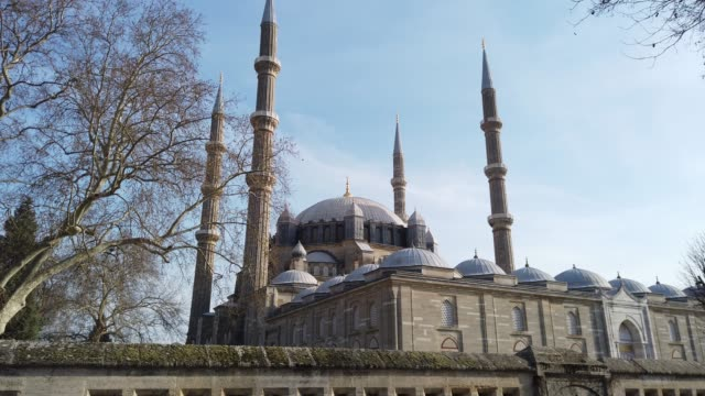 general view of selimiye mosque, edirne, turkey - 16th century stock videos & royalty-free footage