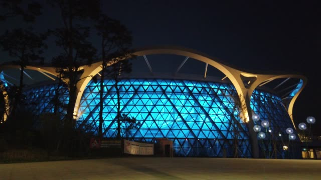 stockvideo's en b-roll-footage met general view of seoul botanic park as blue lights to show support for health care workers and first responders on the front lines of the coronavirus... - number 9