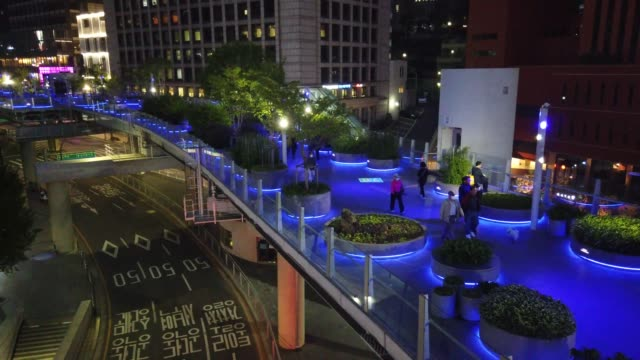stockvideo's en b-roll-footage met general view of seoul-ro as blue lights to show support for health care workers and first responders on the front lines of the coronavirus pandemic... - number 9