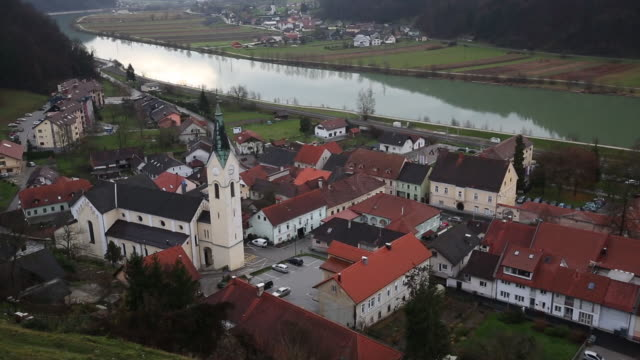 general view of sevnica's old town by the sava river on november 28, 2016 in sevnica, slovenia. - slovenia stock videos & royalty-free footage