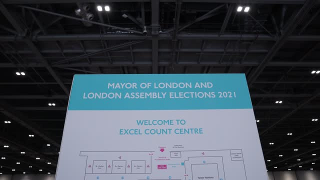 general view of signage at the excel centre on may 7, 2021 in london, england. the london mayoral and assembly election takes place today a year... - western europe stock videos & royalty-free footage
