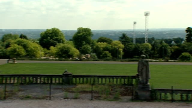 general view of sports ground sports centre lights john payne along next itn reporter general view over london john payne interview sot pentathlete... - world sports championship stock videos & royalty-free footage