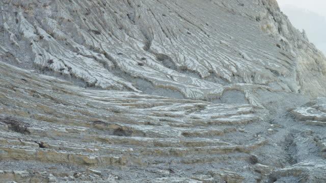 Vista geral de enxofre explorações mineiras e ácido Lago