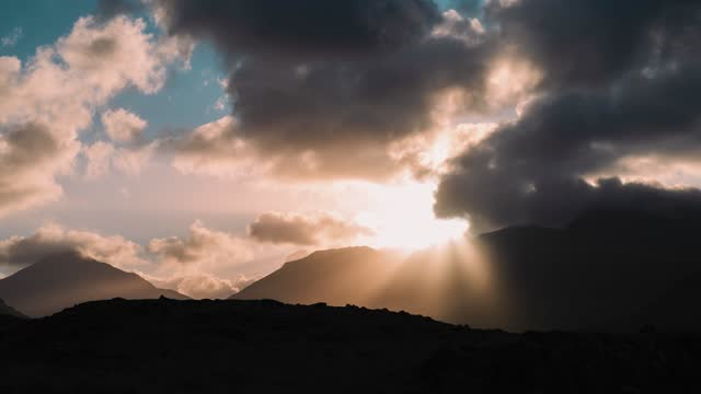 general view of sunlight breaking through clouds at the lake district national park on may 11, 2021 in cumbria, england. - sunlight stock videos & royalty-free footage