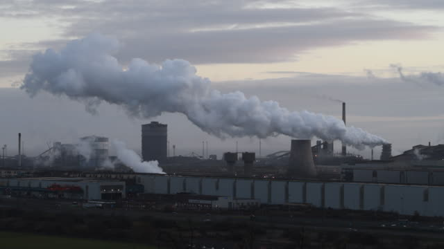 a general view of tata steel at port talbot in wales uk a world health organisation report has revealed that port talbot home to britain's largest... - schornstein konstruktion stock-videos und b-roll-filmmaterial