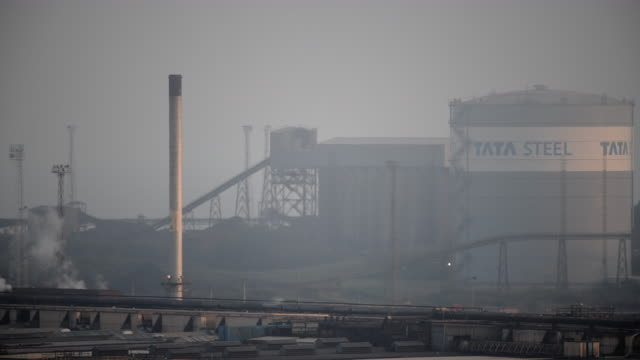 a general view of tata steel at port talbot in wales uk the indian company tata employs around 4000 people at its port talbot steelworks and has... - metal blend stock videos and b-roll footage