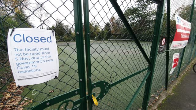 general view of tennis courts which have closed temporarily because of the second national lockdown due to the coronavirus pandemic in dulwich park... - general view stock videos & royalty-free footage