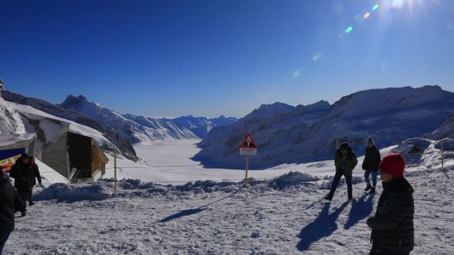 general view of the aletsch glacier from jungfraujoch, highest railway station in europe in the bernese alps mountain range on december 3, 2019 in... - mountain pass stock videos & royalty-free footage