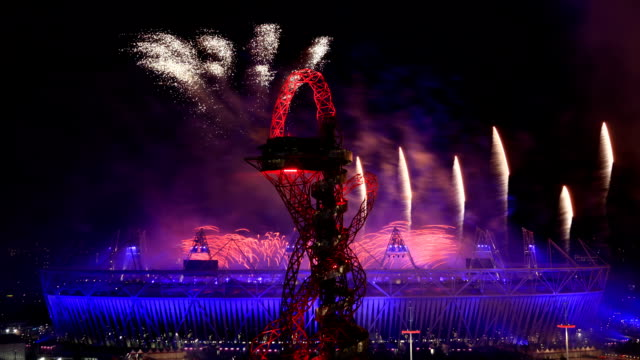 general view of the amazing fireworks display over the olympics stadium during the opening ceremony of the london 2012 olympic games timelapse... - 2012 stock videos and b-roll footage