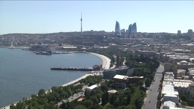 a general view of the baku street circuit in baku azerbaijan on june 15 2016 the 2016 formula one grand prix of europe will take place between june... - baku video stock e b–roll