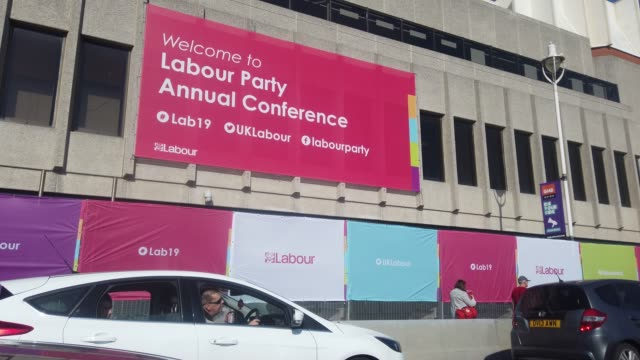a general view of the brighton centre the venue for this years labour party conference on september 21 2019 in brighton england ahead of the annual... - 労働党点の映像素材/bロール