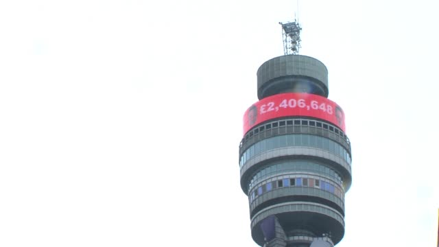 general view of the bt tower showing the £2.4 million raised by the show for comic relief. bt tower shows figure raised at bbc radio one studios on... - bbc radio stock videos & royalty-free footage