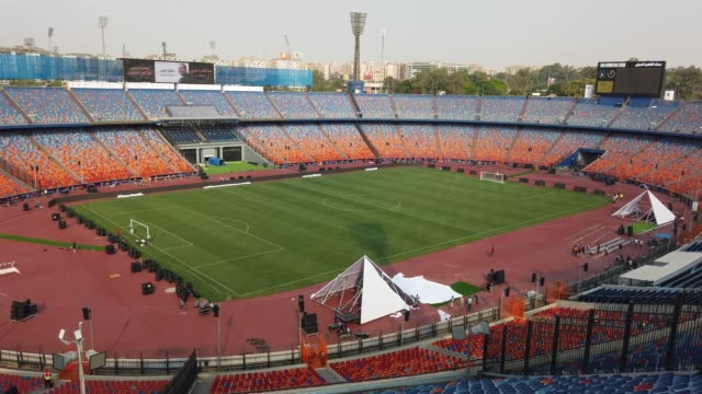 a general view of the cairo international stadium on june 17th in cairo egypt the opening match of the 2019 african cup of nations kicks off on... - general view stock videos and b-roll footage