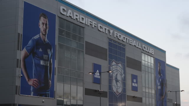 A general view of the Cardiff City Stadium as tributes to Emiliano Sala are left at the Cardiff City Stadium on January 25 2019 in Cardiff Wales...