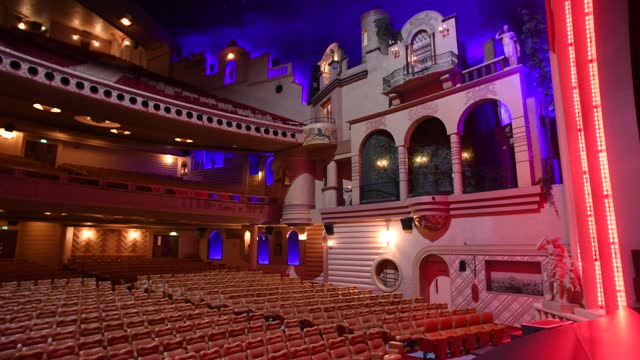 general view of the cinema and concert hall, le grand rex is seen on march 10 in paris, france. cultural places such as theatres, cinemas and concert... - indoors stock videos & royalty-free footage