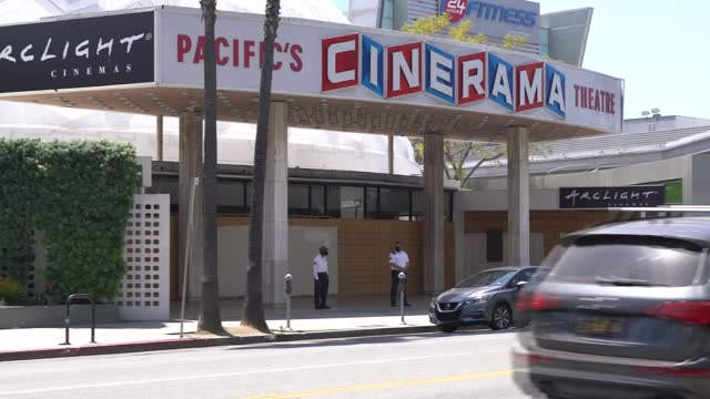 general view of the cinerama dome at arclight cinemas hollywood after the announcement that arclight cinemas and pacific theatres will permanently... - cinerama dome hollywood bildbanksvideor och videomaterial från bakom kulisserna
