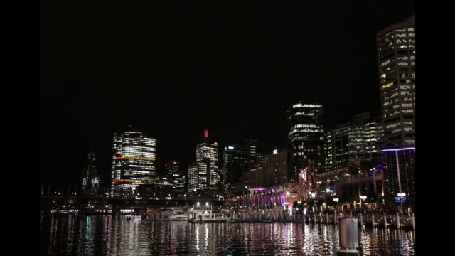 a general view of the city from cockle bay during the vivid sydney light festival at darling harbour on june 05 2019 in sydney australia vivid sydney... - southern hemisphere stock videos & royalty-free footage