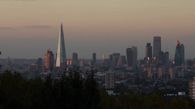 General view of the City of London as seen from Greenwich Park on October 27 2016 in London England