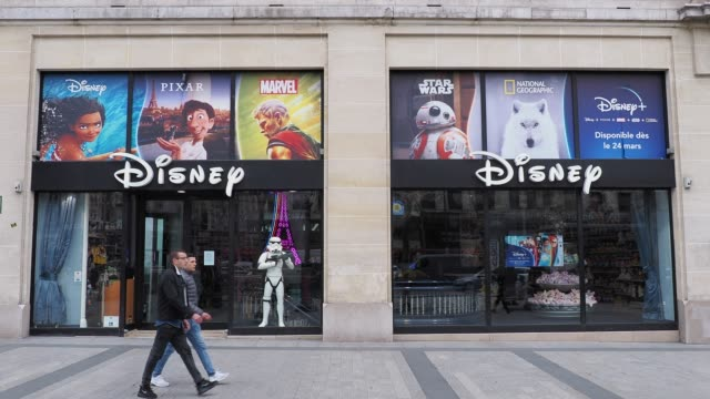 general view of the closed disney store, at avenue des champs elysees, in the 8th quarter of paris, as the city imposes emergency measures to combat... - disney stock videos & royalty-free footage