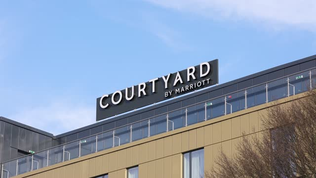 general view of the courtyard by marriott hotel at heathrow on february 11, 2021 in london, england. the uk government has added flights from the uae... - courtyard stock videos & royalty-free footage