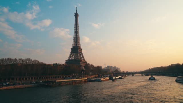 general view of the eiffel tower, as it celebrates its 130th anniversary, on march 31, 2019 in paris, france. - river seine stock videos & royalty-free footage
