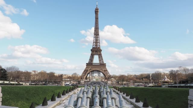 general view of the eiffel tower from the trocadero in paris on march 12 2020 in paris france - eiffel tower paris stock videos & royalty-free footage