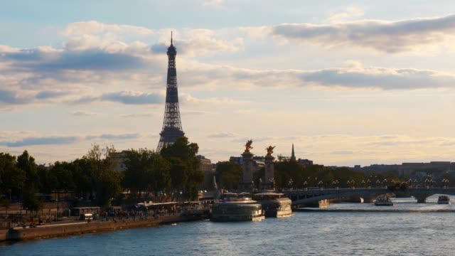 general view of the eiffel tower, the alexandre iii bridge and the seine river, on august 2, 2020 in paris, france. - eiffel tower paris stock videos & royalty-free footage