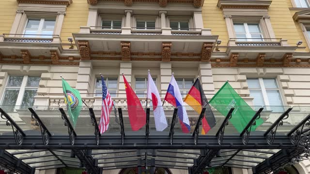 general view of the grand hotel on the day the jcpoa iran nuclear talks are to resume on may 25, 2021 in vienna, austria. representatives from the... - vienna stock videos & royalty-free footage