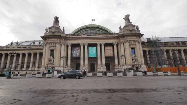 general view of the grand palais which is closed until further notice due to the coronavirus covid-19 outbreak. french prime minister edward philippe... - grand palais stock videos & royalty-free footage