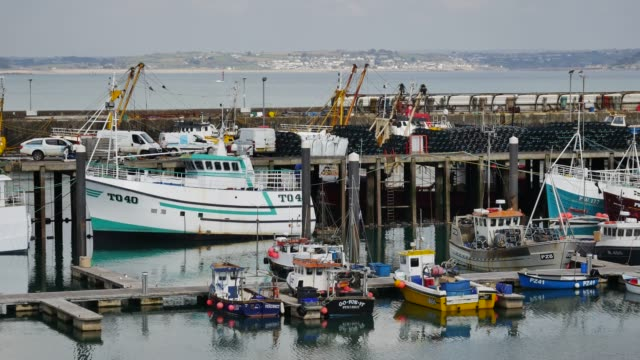 general view of the harbour in the port of newlyn near penzance cornwall england uk. newlyn is one of the largest fisheries ports in the uk with... - ペンザンス点の映像素材/bロール