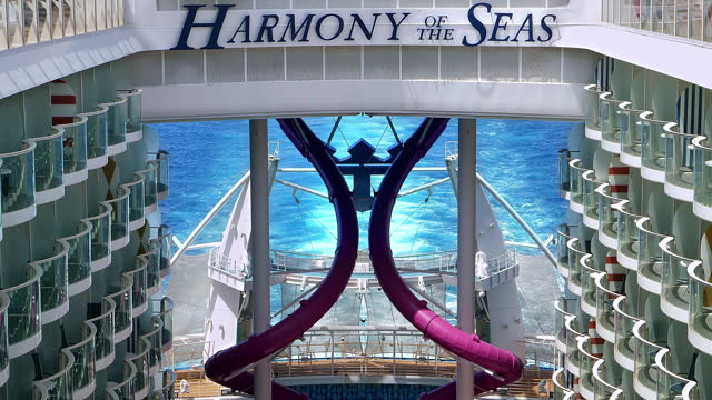 general view of the harmony of the seas, which is the second-largest royal caribbean international passenger ship in the world, surpassing her older... - serene people stock videos & royalty-free footage