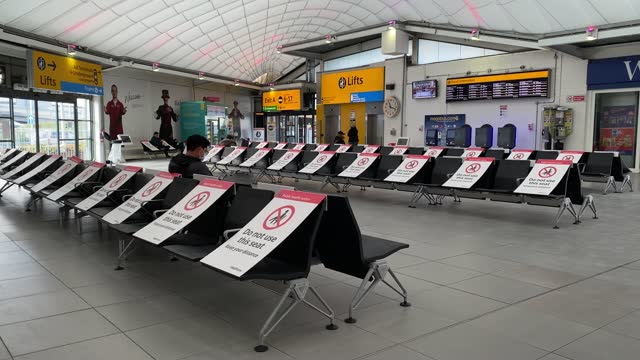 general view of the heathow terminal 2 bus station seating area with social distancing measures in place at heathrow terminal 2 on february 11, 2021... - social distancing stock videos & royalty-free footage