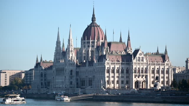 general view of the hungarian parliament building on the river danube on october 20, 2019 in budapest, hungary. - eastern european culture stock videos & royalty-free footage