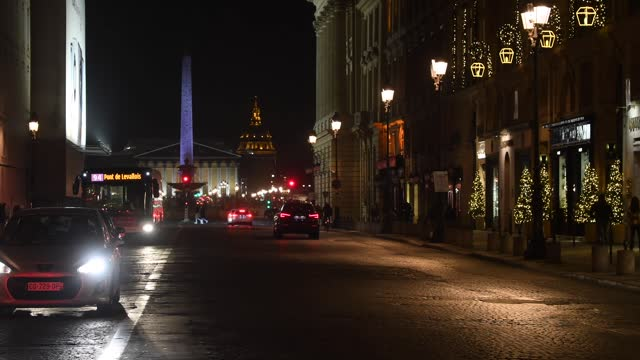 general view of the illuminated rue royale for christmas and new year celebrations on november 30, 2020 in paris, france. the reopening of stores... - obelisk stock videos & royalty-free footage