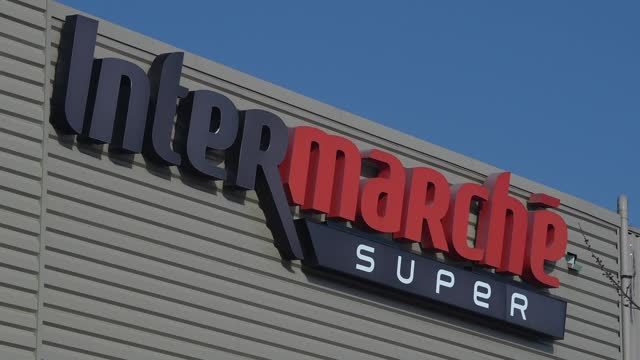 general view of the intermarche department store logo on march 2, 2021 in orgeval, france. retailers continue to struggle and adapt to the economic... - sunny stock videos & royalty-free footage