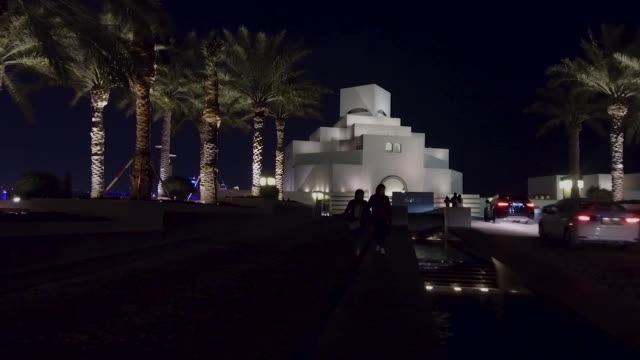 a general view of the islamic museum of art at night on march 19 2019 in doha qatar - doha stock videos & royalty-free footage