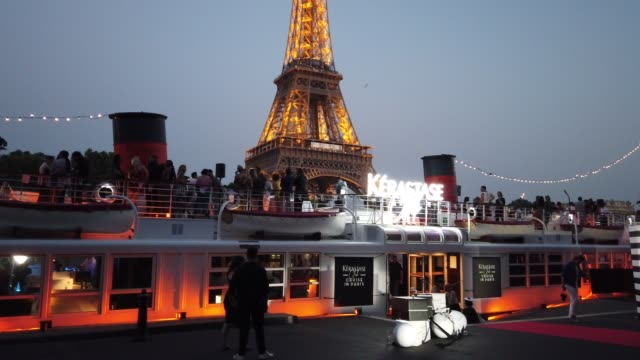 general view of the kerastase boat outside the kerastase party at port debilly in paris on june 26 2019 in paris france - general view stock videos & royalty-free footage