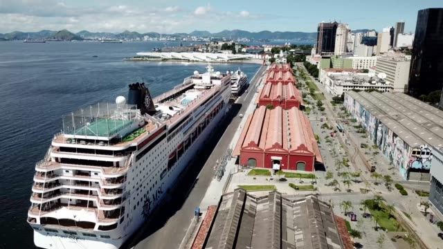 general view of the le boreal luxury cruise ship docked at pier maua on march 26, 2020 in rio de janeiro, brazil. luxury cruise ships called brazil... - moored stock videos & royalty-free footage