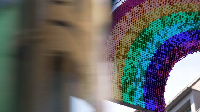 general view of the lgbt rainbow symbol in carnaby street on uk pride month 2021 on june 01, 2021 in london, united kingdom. june marks pride month,... - spectrum stock videos & royalty-free footage